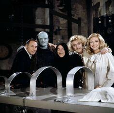 Mel Brooks, Peter Boyle, Marty Feldman, Gene Wilder and Teri Garr on the set of Young Frankenstein.