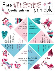 Free   Valentines Day   Cootie Catcher   Printable   Jokes   kids   DIY   Funny Valentine Jokes, Valentines Day Activities, Saint Valentine, Valentines Day Party, Valentines Day Decorations, Valentine Day Crafts, Printable Valentine, Valentine Poster, Valentine Nails
