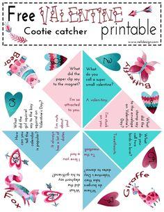 Free | Valentines Day | Cootie Catcher | Printable | Jokes | kids | DIY | Funny