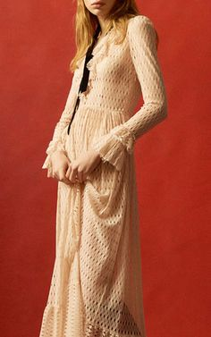 Ruffled Lace Dress by PHILOSOPHY DI LORENZO SERAFINI for Preorder on Moda Operandi