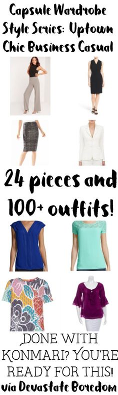 """How to create a NON-BORING Business Casual Capsule Wardrobe, or """"Uptown Chic Colorful Soul""""! Figure Out Your Personal Style and explore this Sample Example Minimalist Closet - Konmari Minimalist Ideas Fashion Clothing Choices mix-and-match"""