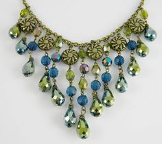 Statement Necklace Anthropologie Style Gold Sunflower Disc Medallions & Iridescent Teal Blue - Olive Green