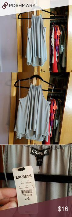 NWT Express High Neck Silver Top Size Large Silver/Gray Express Tops Tank Tops