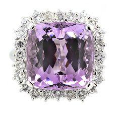 Ring (24) Round Diamonds 1.54ct.tw Center Cushion Shape Brilliant Cut Kunzite 21.89ct 18K