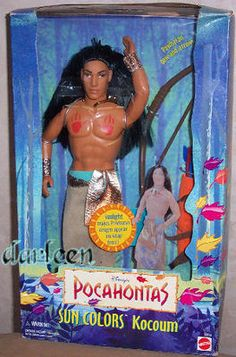 Disney Sun Colors Kocoum Doll Ken type 1995 from Pocahontas Mattel Disney Dolls, Barbie Dolls, Childhood Toys, Childhood Memories, Throwback Day, Disney Princess Fashion, Disney Pocahontas, Disney Merchandise, 90s Kids