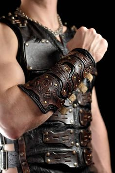 Post apocalyptic mens leather bracer Apocalypse by Atomfashion Leather Bracers, Leather Cuffs, Leather Men, Black Leather, Leather Jackets, Leather Fashion, Mens Fashion, Viking Armor, Viking Costume