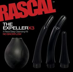 Rascal The Expeller X3 4 Piece Deep Cleansing Kit Black - From beginner to pro, the 3 soft touch wands sure make that deep cleanse easier. The Expeller has a no leak screw on and anti-back flow design, and with its 12 ounces easy squeeze bulb, your anal hygiene has never been more comfortable.