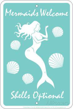 Mermaids Welcome Tin Sign Blechschild