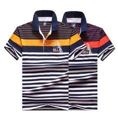 Homens clássico polo homme mens marcas camisa polo da listra tace   shark  shark logotipo polo camisas de manga curta camisa masculina polos em Polo de  Dos ... e630438a3515b
