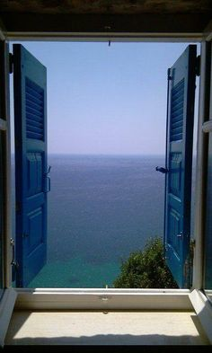 Window View of the Sea at Batsi, Andros island, Cyclades, Greece . Window View, Open Window, Beautiful World, Beautiful Places, Looking Out The Window, Through The Window, Interior Exterior, Windows And Doors, Places To Go