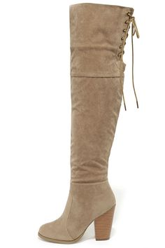 Mountain Crest Nude Suede Over the Knee Boots ==