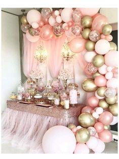 Baby Girl Shower Themes, Girl Baby Shower Decorations, Baby Shower Princess, Baby Shower Pink, Pink Princess Party, Baby Shower Sweets, Gold Baby Showers, Babyshower Themes For Girls, Girl Baby Shower Cakes