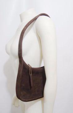 Coach Dark Brown Suede Shoulder Bag Handbag 4396 Vintage Made in USA #Coach #ShoulderBag