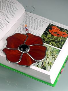 Stained glass Poppy Suncatcher & Window by RainbowStainedGlass