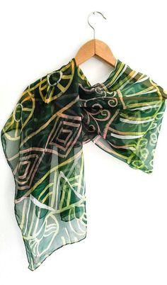 Unique handmade batik Green silk scarf Long and large silk