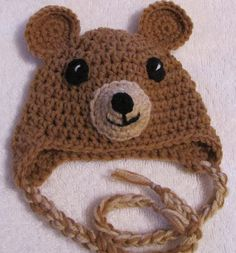 brown baby bear beanie with earflaps and strings sized for 0-3 months. $12.00, via Etsy.