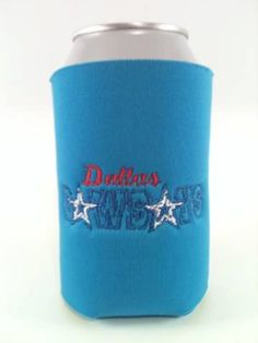 DALLAS COWBOYS Inspired Can Bottle and Zippered Beer Bottle Koozie - Embroidered and Personalized - Dallas, Football Koozies,
