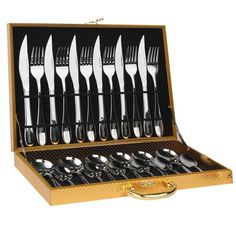 HUIRUI Flatware Cutlery Sets, Stainless Steel Silverware Set for Families, Kitchens, Hotels or Restaurants Dinnerware Cutlery Set Tableware Utensil Set Gift Box Package Utensil Set Utensil Set, Flatware Set, Kitchenware, Tableware, Gift Box Packaging, Elegant Kitchens, Stainless Steel Kitchen, Kitchen Gifts, Dinnerware