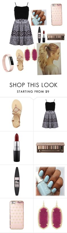 """""""Day 3 picture day"""" by cheri-anne-g ❤ liked on Polyvore featuring Jack Rogers, FRACOMINA, MAC Cosmetics, Urban Decay, Maybelline, Michael Kors, Kendra Scott, Fitbit and backtoschoolkayandabbs"""