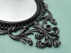 """Large Ornate Oval Vintage Mirror Wall Mirror Ornate Gilded Frame, Hollywood Regency Paris Apartment, French Gothic """"Silver Oil"""""""