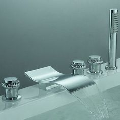 Sumerain Triple Handle Deck Mount Watefall Tub Faucet with Handshower
