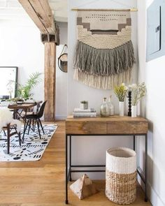 Skilled weavers from Delhi's surrounding neighborhoods hand-loom Southwest-s… – Wohneinrichtung - Wohnaccessoires Industrial House, Industrial Interiors, Industrial Apartment, Industrial Storage, Industrial Chic, Industrial Farmhouse, Industrial Design, Industrial Closet, Industrial Windows