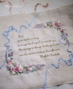 God, give me the serenity to accept the things I can not change. Silk Ribbon Embroidery, Hand Embroidery Patterns, Embroidery Monogram, Embroidery Applique, Embroidery Stitches, Embroidery Designs, Victorian Crafts, Quilt Labels, Brazilian Embroidery