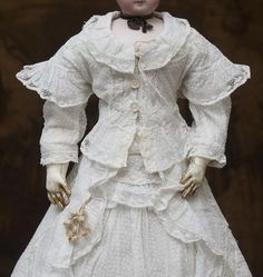 """Antique Original French Summer Gown Dress for Huret Jumeau Gaultier Rohmer other fashion doll about 17-18"""" tall"""