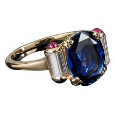 Mauboussin Sapphire Ruby Diamond Gold Ring | See more rare vintage More Rings at http://www.1stdibs.com/jewelry/rings/more-rings