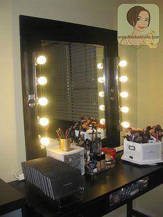 My Makeup Vanity Set-Up With DIY Lighted Mirror