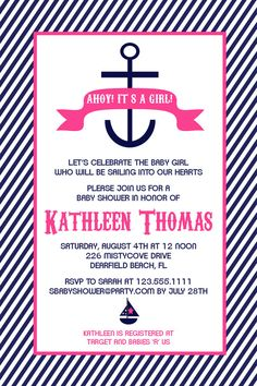 Nautical Anchor Baby Shower Invitations in Pink by Honeyprint, $15.00