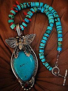 NAVAHO G. CHAVEZ, TURQUOISE AND CORAL BUTTERFLY NECKLACE