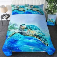 Bed Cover Sets, Bed Covers, Pillow Covers, Ocean Turtle, Comforter Sets, 3d Bedding, Unique Bedding, Duvet Cover Sizes, Blanket Cover