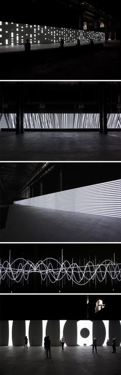 "Carsten Nicolai, ""Unidisplay,"" 40 meter long audiovisual installation, at Hangar Bicocca in Milan."