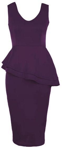 New Womens Plus Size Side Slant Double Frill Long Bodycon Peplum Midi Dress 1X US16-18 Purple