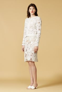 They showed a lot of textured knits as well, but let's talk about this crocheted twinset from the Orley 2016 Resort collection! I'm feeling the freeform-ish combo of paisley/teardrop and circle motifs. They showed each piece separately too, and the skirt looks gorgeous paired with color.