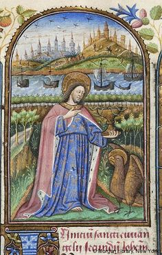 Book of Hours, M.287 fol. 13r - Images from Medieval and Renaissance Manuscripts - The Morgan Library & Museum Evangelist, John: Scene, on Patmos -- John, nimbed, wearing ermined lined cloak, raising right hand, holds with left hand, chalice from which emerge four serpents. Evangelist symbol (eagle), nimbed, stands looking up at him. Scene in landscape; ships sailing in background. Across water, cities on hills, figures walking, one horseman; birds in sky. Miniature and text surrounded by…