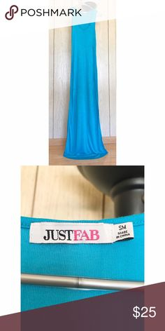 Long Blue Maxi Dress Size: Small Length: 72 Inches. Please ask me further questions in the comments, I will be happy to answer! JustFab Dresses