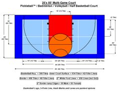Sports court sports court and a multi court dimensions for Sport court dimensions