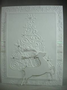 All white embossed card