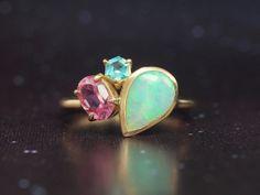 Hariqua-パワーストーンジュエリー-Crystal opal (G) ×Pink tourmaline × Green apatite ring /クリスタルオパール、ピンクトルマリン、グリーンアパタイト クリスタルオパール ピンクトルマリン グリーンアパタイト リング
