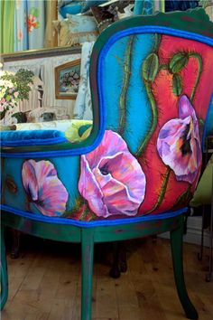 Upholstered and Hand Painted Chair