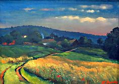 OTAKAR NEJEDLÝ (1883 - 1957) Podvečerní krajina   olej, plátno, 51×70 cm