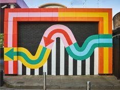A new book documents how supergraphics transform the built environment. Murals Street Art, Street Wall Art, Graffiti Murals, Best Street Art, Environmental Graphic Design, Environmental Graphics, Pintura Exterior, School Murals, Mural Wall Art