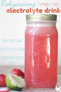 Healthy Homemade Strawberry Kiwi Electrolyte Drink — Hettman Homestead - Drinks For Healthy Living Healthy Snacks, Healthy Recipes, Breakfast Healthy, Healthy Juices, Healthy Smoothies, Homemade Smoothies, Fast Recipes, Homemade Energy Drink, Juice Recipes For Kids