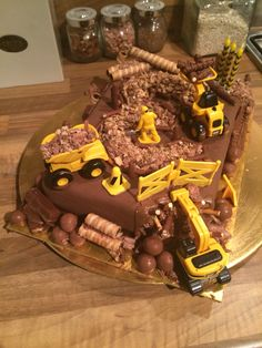 Chocolate digger cake I made for my three year olds birthday! Xx