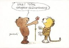 Hier! Total großen Glückwunsch  Tiger und Bär Janosch Postkarte Glückwünsche gratulation zum Geburtstag Prüfung Fest