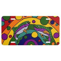 Rainbow Trout Art Abstract License Plate #trout #fishing #art #license #plate And www.zazzle.com/inspirationrocks*