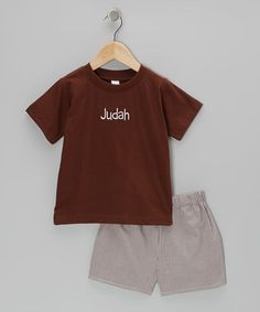 Take a look at this Chocolate Personalized Tee & Shorts - Infant, Toddler & Kids by Lollypop Kids Clothing on #zulily today!