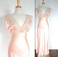 Vintage 1930's / 1940's Peachy Pink Silk Slip by TrueValueVintage, $150.00